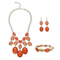 Alexa Starr Oval Faceted Bib Necklace, Bracelet, and Earrings Jewelry Set