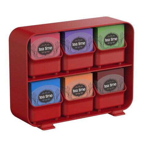 Mind Reader 'Clutch' 6 drawer tea bag holder, Red