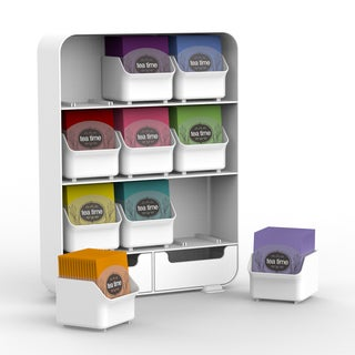 Mind Reader 'Baggy' 9 Drawer Tea Bag and accessory holder- White
