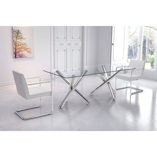 Stant Modern Rectangular Glass Top and Chrome Base Dining Table - Chrome Finish