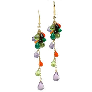 Michael Valitutti Silver Multi-Gemstone Briolette Drop Earrings