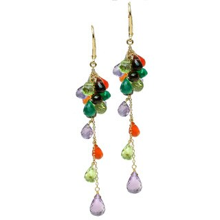 Michael Valitutti Silver Multi-Gemstone Briolette Drop Earrings
