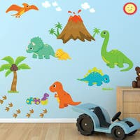 Dinosaur Fabric Wall Decal, 100-percent Woven Fabric Adhesive Decal