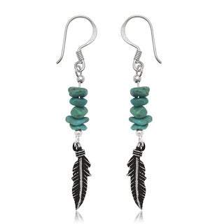 Sterling Silver Feather Turquoise Chip Drop Wire Earrings