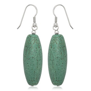 Sterling Silver Blue Turquoise Drop Wire Earrings