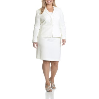 Tahari Arthur S. Levine Women's Plus Size White 2-Piece Skirt Suit
