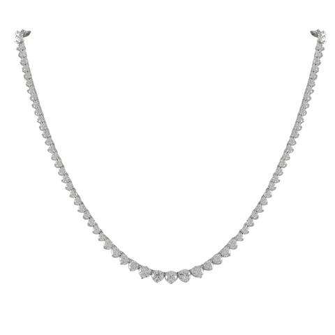 Luxiro Sterling Silver Round Cubic Zirconia Graduated Tennis Necklace