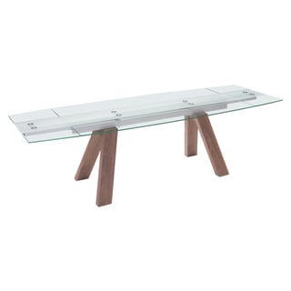 Wonder Walnut Finish Glass Top Extension Table