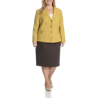 Tahari Arthur S. Levine Women's Plus Textured Yellow and Brown Tab Pocket 2-Piece Skirt Suit
