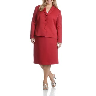Tahari Arthur S. Levine Women's Plus Size Textured Red Embellished Lapel 2-Piece Skirt Suit