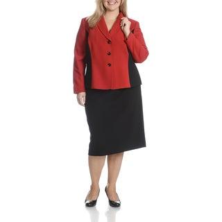 Tahari Arthur S. Levine Women's Plus Size Textured Two-Tone 2-Piece Skirt Suit