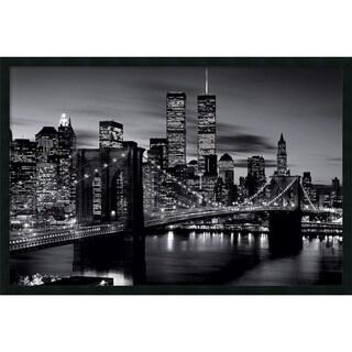 Framed Art Print Brooklyn Bridge - Black and White 38 x 26-inch