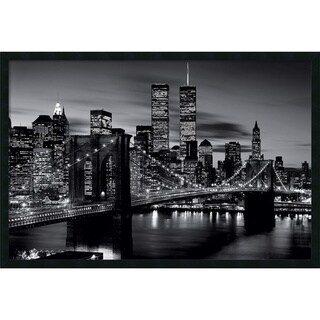 Framed Art Print Brooklyn Bridge - Black and White 38 x 26-inch