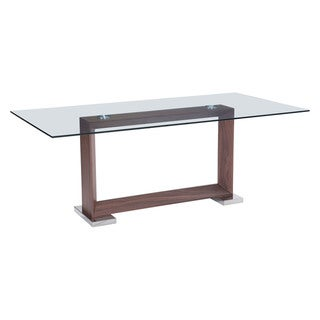 Oasis Rectangular Walnut Finish Glass Top Dining Table