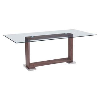Oasis Rectangular Walnut Finish Glass Top Dining Table