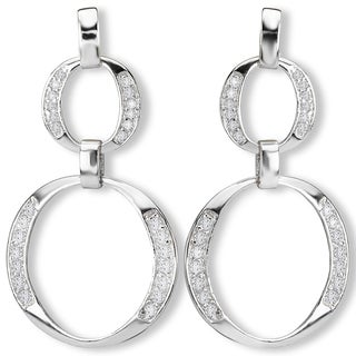 Avanti Sterling Silver Two Circle Dangle Cubic Zirconia Earrings