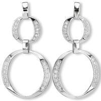 Avanti Sterling Silver Two Circle Dangle Cubic Zirconia Earrings