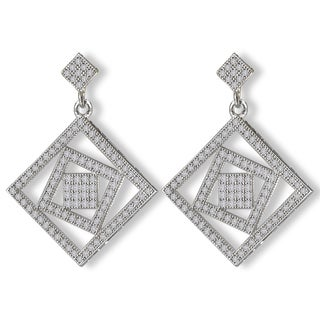 Avanti Sterling Silver Square Dangle Cubic Zirconia Earrings