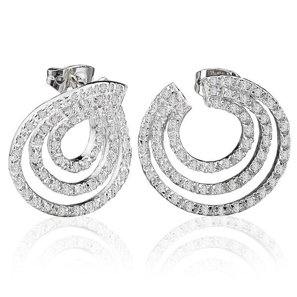 Avanti Sterling Silver 2 3 4ct Tgw Three Row Circular Cubic Zirconia Earrings