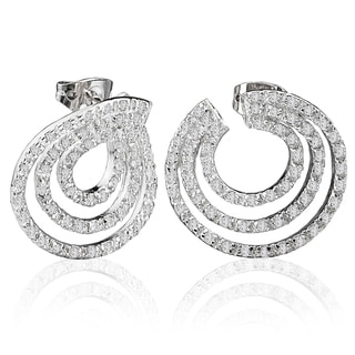 Avanti Sterling Silver 2 3/4ct TGW Three Row Circular Cubic Zirconia Earrings