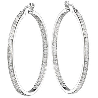 Avanti Sterling Silver 2 3/4ct TGW In-and-Out Cubic Zirconia Hoop Earrings