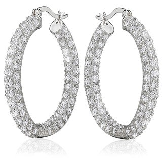 Avanti Sterling Silver 33 mm In and Out Pave Set Cubic Zirconia Hoop Earrings