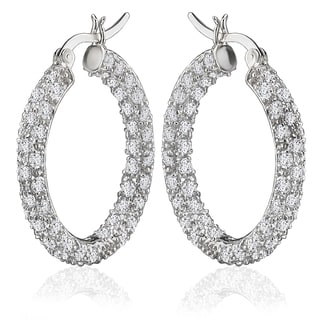 Avanti Sterling Silver 25 mm In and Out Pave Cubic Zirconia Hoop Earrings