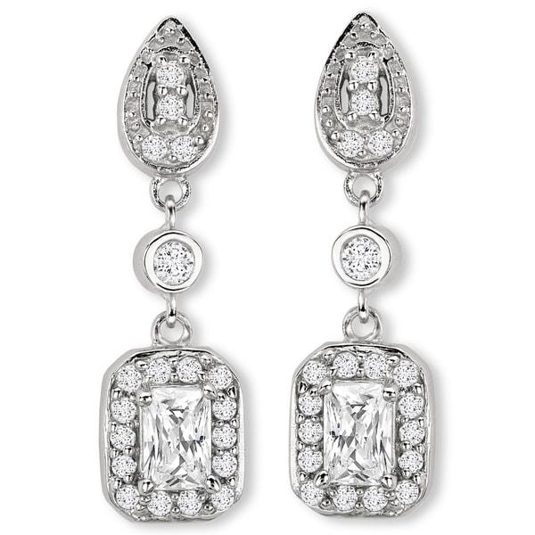Avanti Sterling Silver Long Dangle Cubic Zirconia Earrings