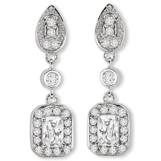 Avanti Sterling Silver Long Dangle Cubic Zirconia Earrings