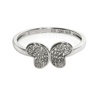 Eternally Haute Solid Sterling Silver Pave Butterfly Ring