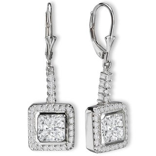 Avanti Sterling Silver Cushion Dangle Cubic Zirconia Lever Back Earrings