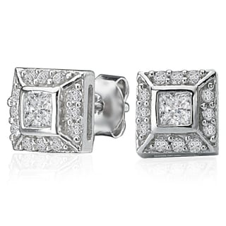 Avanti Sterling Silver Square Vintage Style Cubic Zirconia Stud Earrings