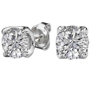 Avanti Rhodium Plated Sterling Silver 2 3/4 TGW Round Cubic Zirconia Solitaire Earrings