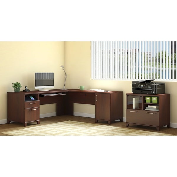 Achieve L Shaped Desk With Printer Stand File Cabinet In Sweet Cherry