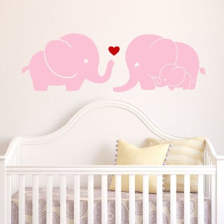 Elephant Family Wall Decal with Red Heart (Option: Pink)