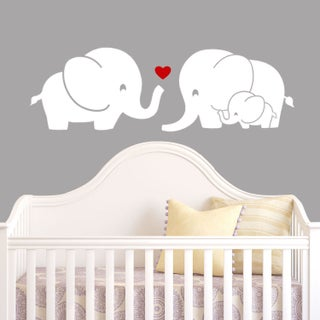 Elephant Family Wall Decal with Red Heart (Option: White)