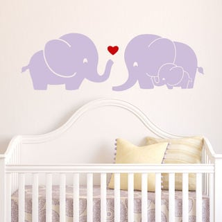 Elephant Family Wall Decal with Red Heart