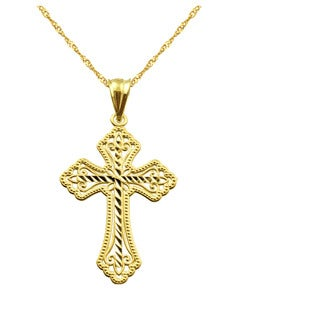 10k Yellow Gold Diamond-cut Cross Charm Pendant