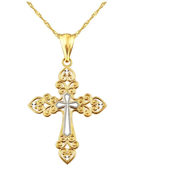 Authentic 10K Yellow Gold Cross Pendant Charm with CZ 4 Sizes