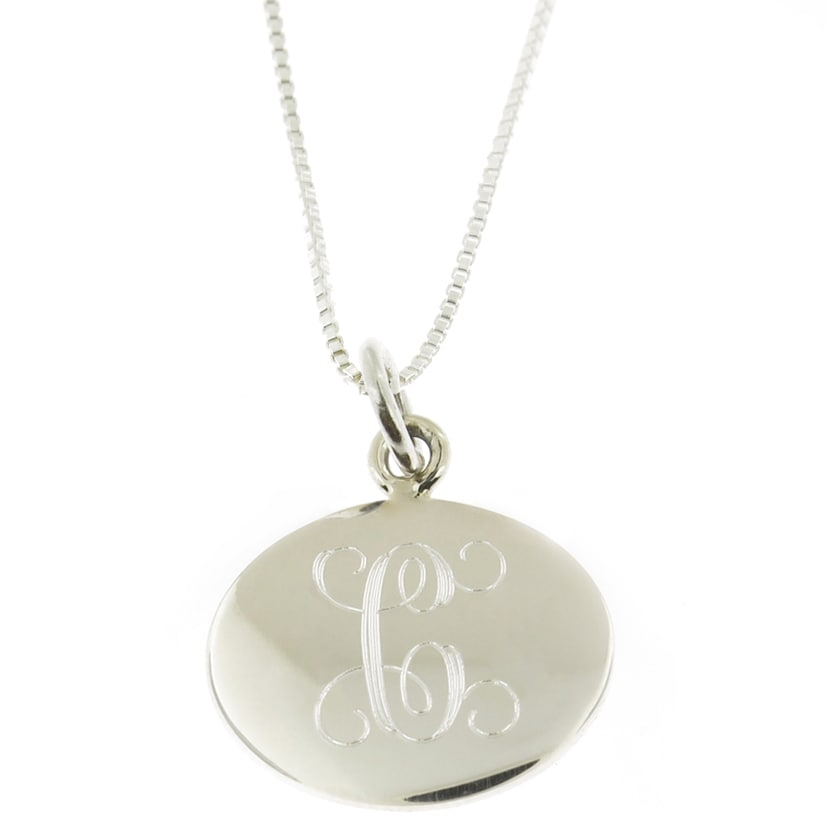 Handmade Sterling Silver Personalized Round Pendant Neckl...