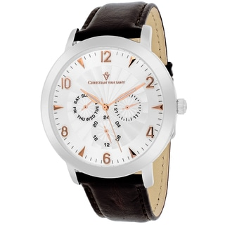 Christian Van Sant Men's CV3512 Harper Round Brown Leather Strap Watch