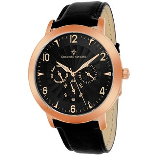 Christian Van Sant Men's CV3515 Harper Round Black Leather Strap Watch