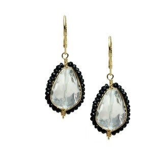 Michael Valitutti Silver White Quartz & Black Onyx Drop Earrings