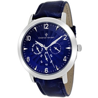 Christian Van Sant Men's CV3510 Harper Round Blue Leather Strap Watch