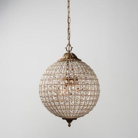 Kimberly Crystal 3-Light 18-Inch Medium Globe Chandelier by Kosas Home