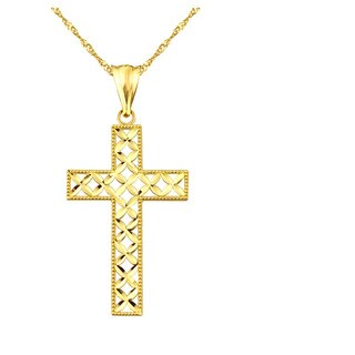 10k Yellow Gold Lattice Cross Charm Pendant