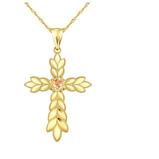 10k Yellow Gold Flower with Leaves Cross Charm Pendant