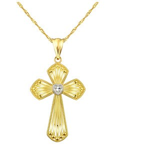 10k Yellow Multi Bar with Heart Cross Charm Pendant