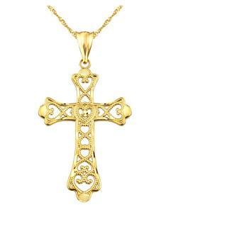 10k Yellow Gold Beaded Multi Heart Cross Charm Pendant