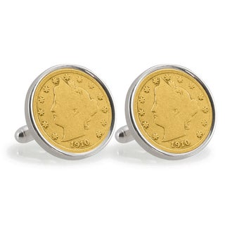 American Coin Treasures Gold-Plated Liberty Nickel Sterling Silver Cuff Links